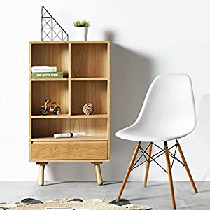 Homier Dining Chair Plastic Wood Retro Chair Modern Furniture White 1 Piece