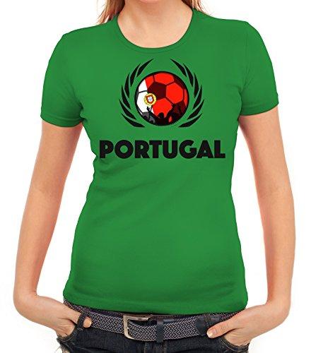 ShirtStreet World Cup Wappen Soccer Fussball WM Fanfest Gruppen Fan Wappen Damen T-Shirt Fußball Portugal Kelly Green