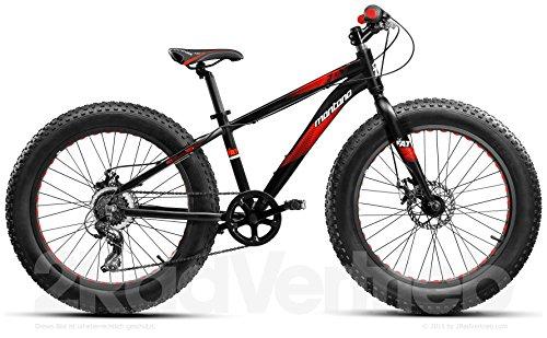 Montana 24 Zoll, Mountainbike, Fatbike, SHIMANO 6 Gang, Alu Rahmen, MTB, Schwarz Rot
