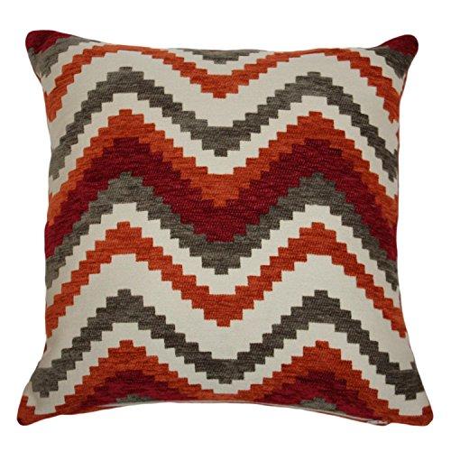 McAlister Textiles Navajo | Kissenbezug für Sofakissen in Rot & Orange | 60 x 60cm | Gewobenes geometrisches Chenille Muster | Ethno-Design Deko Kissenhülle für Sofa, Couch -