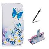 Feeltech Coque pour Samsung Galaxy Core Prime G360 Folio PU Cuir Portefeuille Magnétique Pliant Fermeture Coloré Peinture Conception Plein Corps Protection Housse - Papillon Fleurs