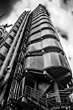 "Photograph a 12""x18"" Photographic Print of the Lloyds Building in the City of London England United Kingdom portrait photo black and white picture fine art print. Photography by Andy Evans Photos"