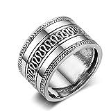 Beydodo 925 Sterling Silber Ring Damen Silber Vintage Hochglanzpoliert Breite Verlobungsringe Hochzeitsring Silber Größe 57 (18.1)
