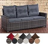 CLP Polyrattan-Sofa FISOLO mit DREI Sitzplätzen I Gartensofa mit stabilem Untergestell aus Aluminium I Couch mit Kissen und Polsterauflagen I erhältlich Grau Meliert, eisengrau