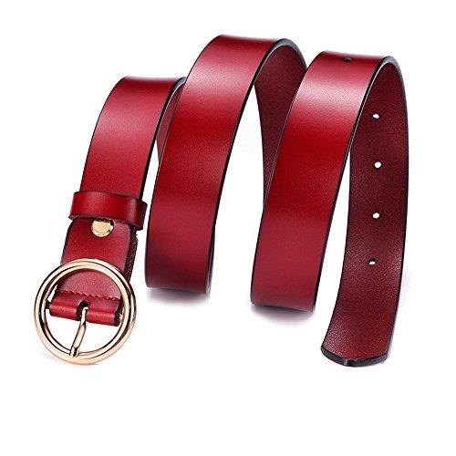 Shuo lan cintura da donna cintura in morbida pelle per jeans pantaloncini con cinturino in metallo ! (colore : dark red)