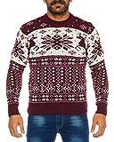 Raff&Taff Herren Strickpullover Sweater Hoodie Wollpullover | M - XXL | Norweger Island Pullover Weihnachten Winter (Rot/Weiß Schnee, XL)