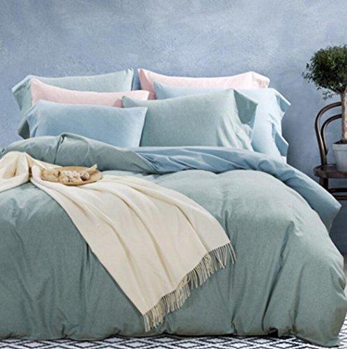 Bettwäsche Bettbezug Sets, Bettwäsche und Kissenbezüge Warme Baumwolle gebürstet Tröster-Sets, 4pcs / set,B,Queen 200*230cm