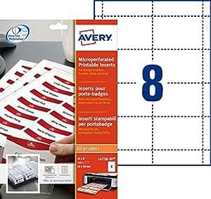 Avery 160 Inserts Badges Microperforés - 60x90mm - Impression Laser, Jet d'Encre - Blanc (L4728)