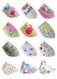 Norcci 12er Baby Kinder Cartoon Baumwolle Dreieckstuch Lätzchen Babylätzchen Halstuch Mit Druckknöpfen Multifunctional
