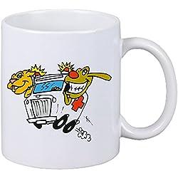 Reifen-Markt Kaffeetasse Motiv Nr. 12943 Tierarzt Krankenwagen Tierrettung Cartoon Spass Fun Kult Film Serie Cartoon Spass Fun Kult Film Serie Keramik Höhe 9,5cm ⌀ 8c