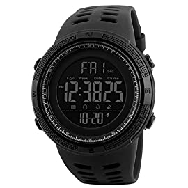 Mens Digital Sports Watch Military Casual Electronic Watches Running Fashion Waterproof Wrist Watch with Alarm Calendar Stopwatch – Black
