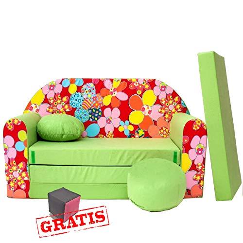 Z19 Canapé 3 en 1 pour bébé Minicouch + jouets doux + coussin de siège (vert fleur)