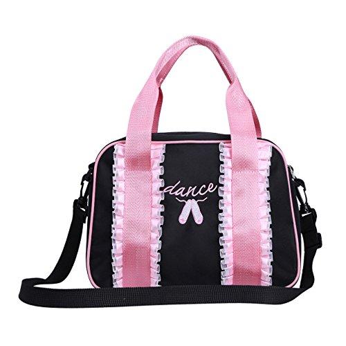 FEESHOW Ballett-Tasche Sport-Tasche Kinder Tamztasche Mädchen Gymnastik-Tasche Handtasche für Ballerina Schwarz Rosa schwarz one Size