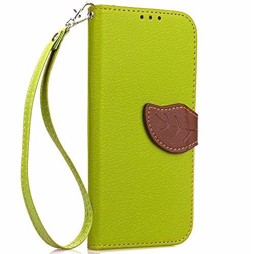 EKINHUI Case Cover Mischen Sie und passen Sie Farben-Blatt-magnetische Wölbung PU-lederner Fall-Mappen-Standplatz-Beutel-Abdeckung mit Lanyard für OnePlus 3 ab ( Color : Red ) Green