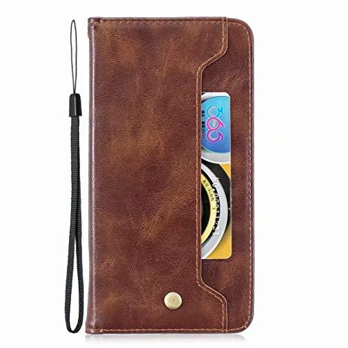 Veapero Kompatibel für Hülle Nokia 3.1 Handyhülle Schutzhülle Wallet Case Tasche PU Handyschale Brieftasche Flipcase Geldbörsen Kartenfach Stand Magnetische,Braun