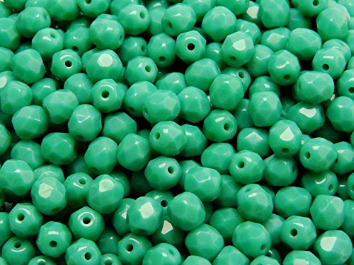 50 pc Czech Perle Sfaccettato vetro, Fire-Polished Rotondo 6mm Turquoise Green