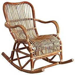 PEGANE Rocking Chair en rotin Brut, avec écorce – Dim : 85 x 73 x 125 cm