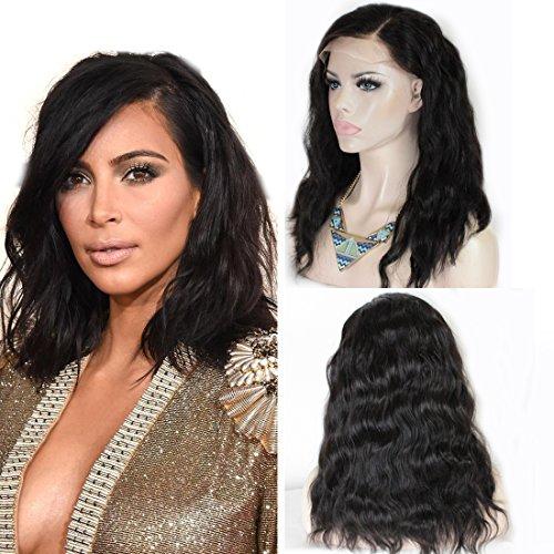 ZANA cheveux non traités brésiliens vierges Bob cheveux ondulés Wet Wave complet Perruques Lace Front/Châtain naturel perruque Lace Front Wig pour femmes naturelle au niveau du front
