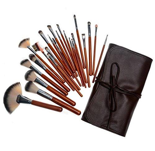 HZS Make Up Brushes Makeup Brush Ensemble de Manche en Bois Naturel Kit de Maquillage de Maquillage 24 pièces Kit de Maquillage Maquillage de Visage Maquillage Naturel avec Sac en Cuir Souple