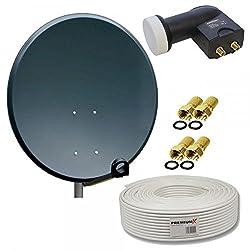 PremiumX 45cm Sat Antenne Stahl Schüssel mit Twin LNB 10m Koaxialkabel Koax Kabel 4X F-Stecker