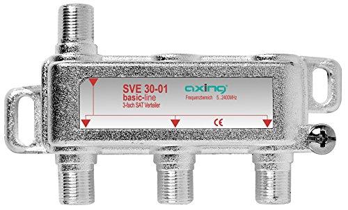 Axing SVE 30-01 3-Fach SAT-Verteiler Splitter mit DC-Durchgang für Satelliten-Anlagen Unicable DVB-T2 HD (5-2400 MHz) Class A