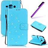 EMAXELERS Galaxy J1 Bling Diamant Cristal Schmetterling Muster PU Ledercase Flip Tasche Case Cover Ledertasche Schutzhülle Handyhülle Etui Cover für Samsung Galaxy J1,Sky Blue Butterfly with Diamond