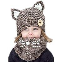 Chicos de invierno para niñas Sombrero de punto de gato de invierno, Sombrero y gorro para niños pequeños de bebés pequeños y bufandas de punto Cazadora para actividades de snowboard al aire libre
