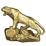 chinois FENGSHUI faite à la main Laiton Tigre Statues Attrack Richesse Bureau figurine Home Decor Pendaison félicitations de cadeau Bs030