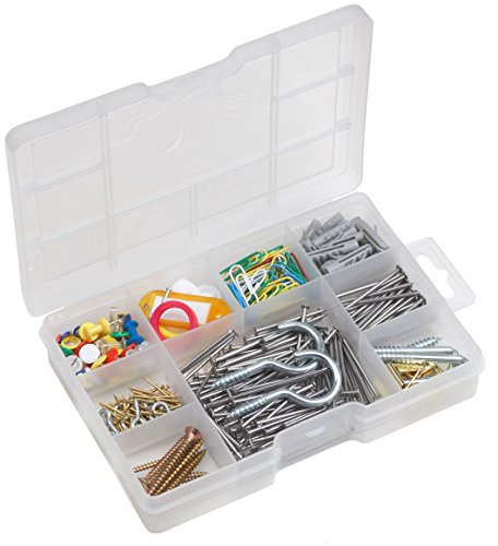 Meister Haushalts-Sortiment 183-teilig + 200 g - Schrauben, Haken, Pinnwandnadeln & Co. - Vorsortiert in praktischer Kunststoffbox - Universell einsetzbar / Sortimentskasten / Sortimentsbox / 947530