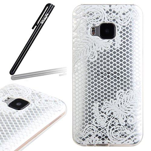 Ukayfe HTC M9 Copertura, Serie di disegni di pizzo bianco Custodia Ultra Slim Morbido TPU Gel Silicone Protettivo Skin Protettiva Shell Case Cover per HTC One M9 Con Stilo Penna - plaid fiore