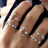 VICKY-HOHO Set de 5 anillos Nueva Bohemio Vintage Mujer Aleación Estrella Luna Forma Anillos de dedo Punk