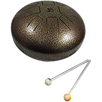 'AUM (ॐ) Happy Drum Pan Drum, steel Tongue Drum, Hang Drum Tank Drum 7 Inch dedos Steel Drum Penta Tonic Scale with Rubber Musical Mallet and Travel Bag Perfect for Meditación Yoga Zen Sonido Healing