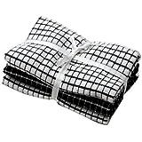 Paño de cocina de color negro y blanco, 40 x 65 cm blanco, 3