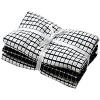 Lot de 3torchons séchage rapide, noir et blanc, 40cm x 65cm