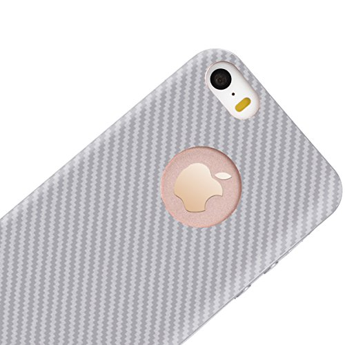 Coque iPhone SE, Housse iPhone 5S/5 Argent Fibre de Carbone Silicone Souple Etui GrandEver TPU Back Cover Vague Bande Motif Cas Caoutchouc Rubber Gel Cases Haute qualité Flexible Soft Back Case coquil Argent