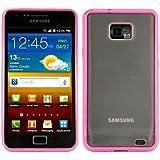 kwmobile Funda para Samsung Galaxy S2 S2 PLUS - Case plástico para móvil - Cover trasero Diseño Marco en rosa fucsia transparente