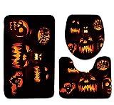 VEMOW Heißer Halloween Schwarze Katze WC Sitzbezug und Teppich Badezimmer Set Halloween Decor(D, 45cmX37.5cm(Tankdeckel))