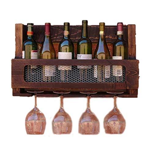 GCM Bottles Weinregal Mit Glashalter Massivholz Weinschrank Küche Wandbehang Weinkorb Becherhalter Retro Wand Dekorative Lagerung Display Regal (Display Dekorative Regale)
