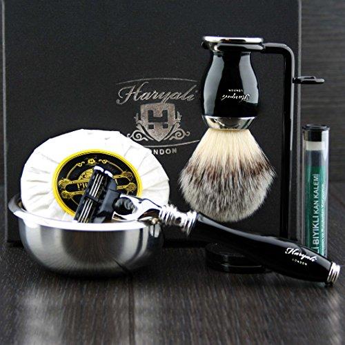 Mach 3 Razor Stand (Premium Rasierzeug Geschenk für Herren(Gillette Mach 3 rasierer,Bürste,Schüssel,Ständer)Marken-verpackung)