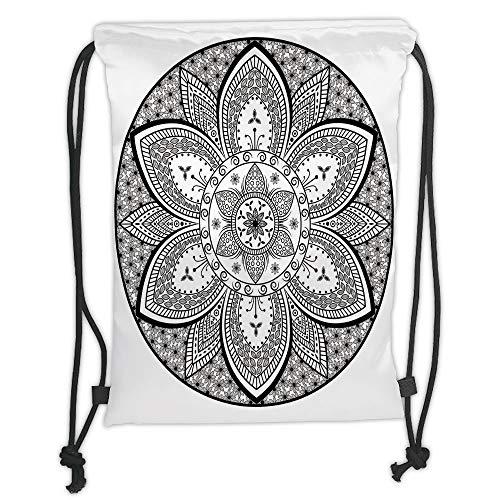Icndpshorts Ethnic,Mandala Ethnic Tribal Design Leaves Flowers Ivy Swirls Dots Artwork Image Print,Black and White Soft Satin,5 Liter Capacity,Adjustable String Closu - Ivy Leaf Trim