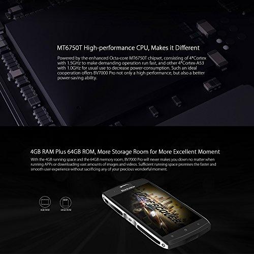 Blackview BV7000 Pro Tri-prueba Smartphone IP68 Impermeable 4G LTE a Prueba de Choques Polvo  Android 6 0  Pantalla 5 0   MTK6750T Octa-core  4GB 64GB
