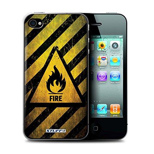 KOBALT® Hülle Case für Apple iPhone 4/4S | Biohazard Entwurf | Warnung Zeichen Kollektion Feuer/Entzündliche
