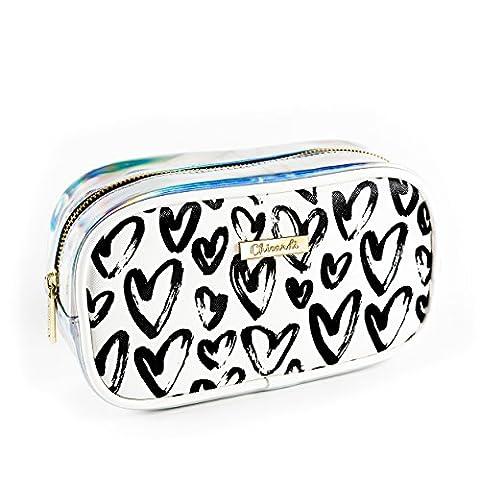 Trousse de Toilette Makeup Cosmetic Bag Beauty Case Trousses à Maquillage Femme Sacs Meilleur Voyage Cosmétique Sac Maquillage HommeBig White avec Black Hearts