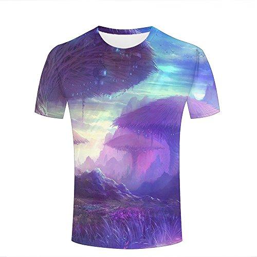 qianyishop Mens Womens 3d Print T Shirtsgiant tree houses in the fantasy land Graphic Fashion Couple Tees Top Short Sleeve B