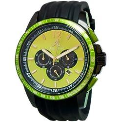 Adee Kaye Terrace Herren Chronograph Schwarz Silizium Armband Uhr AK7141-GN