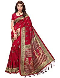 Oomph! art silk with Blouse Piece Saree (kstassle11_ red_ Free Size)