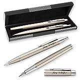 PARKER Schreibset IM Edelstahl-Optik mit Laser-Gravur Füllfederhalter und Kugelschreiber im LOGIC Geschenk-Etui