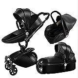 Ambiguity Kinderwagen,Hoch-Sicht Baby Kinderwagen Leder bidirektionale Auto 360-Grad klappbaren Aussetzung kann im Baby Auto sitzen.