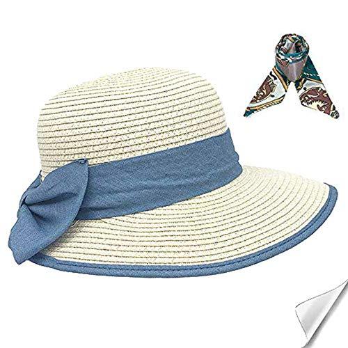 SIYWINA Sombrero Paja Mujer UPF 50+ Plegable Sombrero