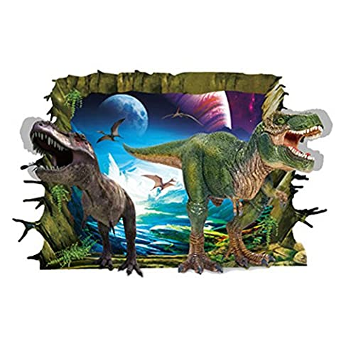 MING Creative 3D Dinosaurs Breaking Out of the Wall Removable Wall Stickers Decal for Living Room Coffee Shop Cafe Bedroom Parlor Dining Room Desk TV Set Refrigerator Decoration